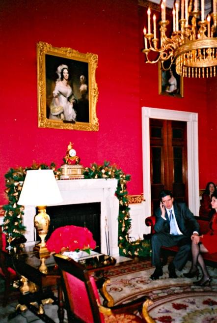 Multi-tasking in the Red Room under Angelica Singleton Van Buren's gaze