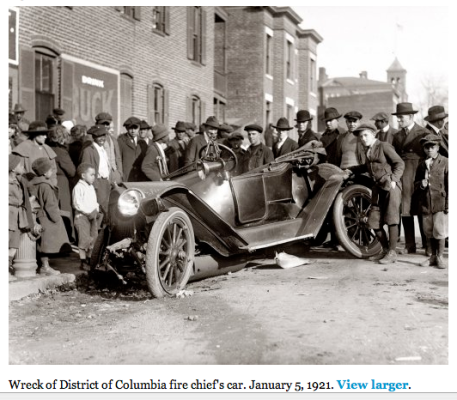 Wreck of District of Columbia Fire Chief's Car, 1921 courtesy of Shorpy
