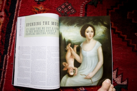 """""""Young Woman with Cupid [and Toe!]"""" by Fatima Ronquillo/courtesy Wally Workman Gallery in the Oxford American"""