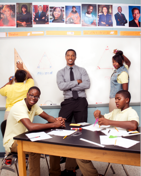 Former NFL Player Ricardo Silva in his math classroom at Ballou High School where he is a Teach for America teacher. © Susana Raab for People Magazine