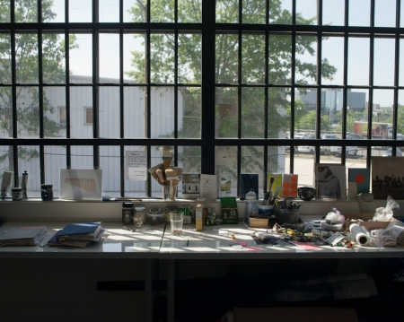 Grethe Wittrock's space in the Okie Street artist studios. © Susana Raab 2015